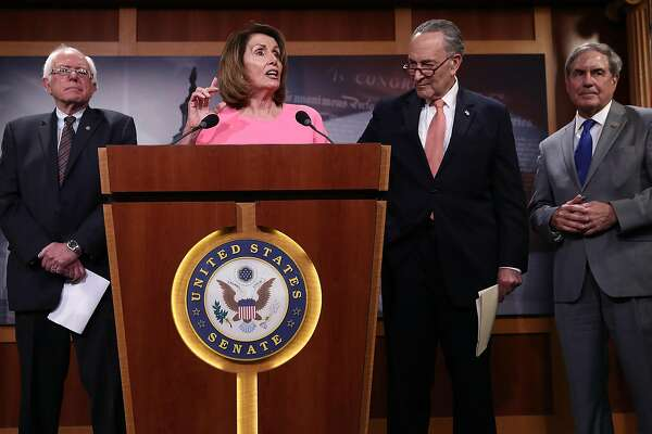 WASHINGTON, DC - MAY 23:  House Minority Leader Nancy Pelosi (2nd L) answers questions with (L-R) U.S. Sen. Bernie Sanders (I-VT), Senate Minority Leader Chuck Schumer (D-NY) and Rep. John Yarmouth (D-KY) during a press conference at the U.S. Capitol May 23, 2017 in Washington, DC. Senate and House Democrats held the news conference to respond to the release of U.S. Donald Trump's budget.  (Photo by Win McNamee/Getty Images)