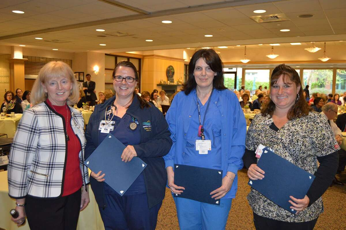 From left: Griffin Hospital Vice President of Patient Care Barbara Stumpo presented Diana Konecny, RN, BSN, of Beacon Falls, Karyn Spaulding, RN, BSN, of Seymour, and Tracy Volpe, RN, BSN, of Cheshire with 2017 Nightingale Award for Excellence in Nursing. Tania Cote, RN, BSN, of Naugatuck, also received the award. Photo courtesy of Griffin Hospital.