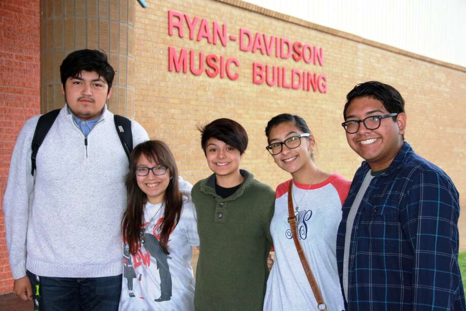 """Fernando Flores (left), Samantha Hernandez, Jaicei Luera, Catherine Delgado and Matthew Tijerina were selected following tryouts as drum majors for the 2017-2018 Plainview High School """"Powerhouse of the Plains"""" marching band."""