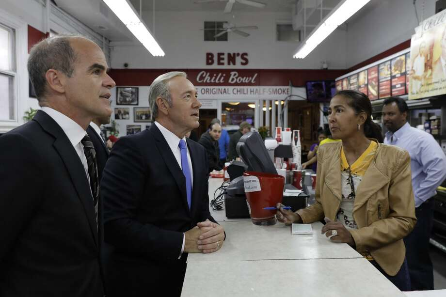 """Kevin Spacey as President Underwood from Netflix's """"House of Cards"""" visits Ben's Chili Bowl in Washington, D.C., May 22, 2017. Photo: Pete Souza"""
