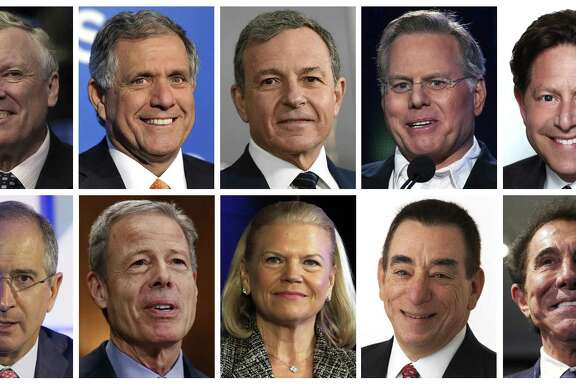 This photo combination shows the top 10 highest paid CEOs in 2016, according to a study carried out by executive compensation data firm Equilar and the Associated Press. On top row (from left): Charter Communications CEO Thomas Rutledge; CBS CEO Leslie Moonves; Walt Disney CEO Robert Iger; Discovery Communications CEO David Zaslav; and Activision Blizzard CEO Robert Kotick. On bottom row, (from left): Comcast CEO Brian Roberts; Time Warner CEO Jeffrey Bewkes; IBM CEO Virginia Rometty; Regeneron Pharmaceuticals CEO Leonard Schleifer; and Wynn Resorts CEO Stephen Wynn.