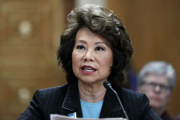 Transportation Secretary Elaine Chao testifies on Capitol Hill in Washington, Wednesday, May 17, 2017, before the Senate Environment and Public Works Committee hearing on improving infrastructure. (AP Photo/Alex Brandon)