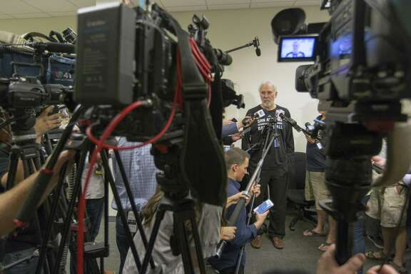 Spurs coach Gregg Popovich speaks Tuesday, May 23, 2017 to the media at the team's practice facility during the final press conference of the season. The Spurs were eliminated from the playoffs Monday night after they were swept by the Golden State Warriors in the Western Conference finals.