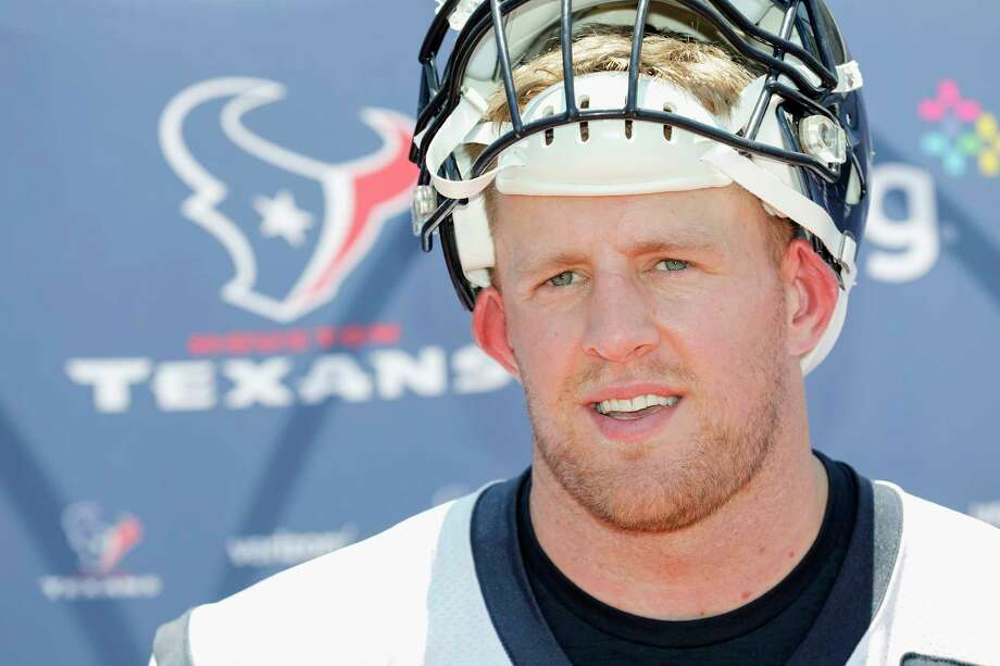 Houston Texans defensive end J.J. Watt (99) speaks with the media after the Houston Texans OTAs at the Methodist Training Center in Houston, TX on Tuesday, May 23, 2017. Photo: Tim Warner, For The Chronicle / Houston Chronicle