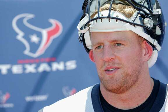 Houston Texans defensive end J.J. Watt (99) speaks with the media after the Houston Texans OTAs at the Methodist Training Center in Houston, TX on Tuesday, May 23, 2017.