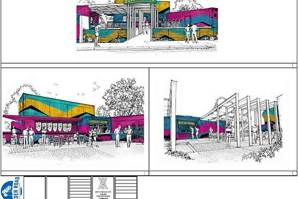 A rendering of Golden Road's proposed shipping container beer garden in Oakland.