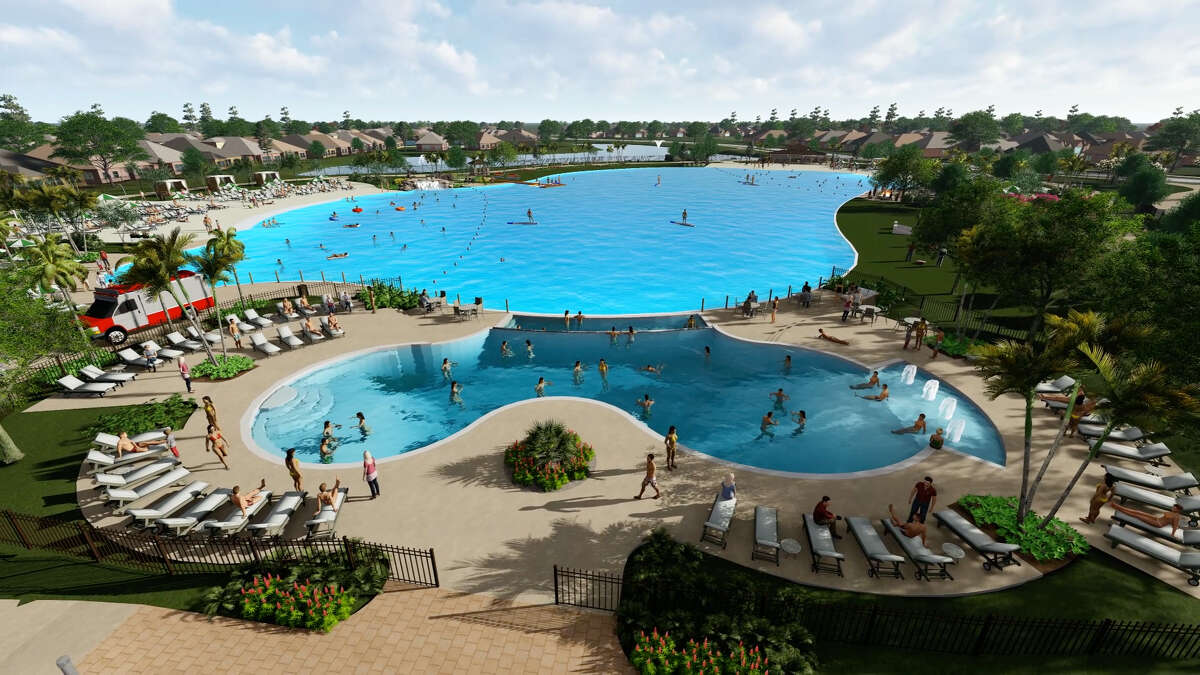 Houston's first-ever Crystal Lagoon opened earlier this year in the Balmoral neighborhood in Humble. It includes a sand volleyball court and lighted tennis court and a boardwalk.