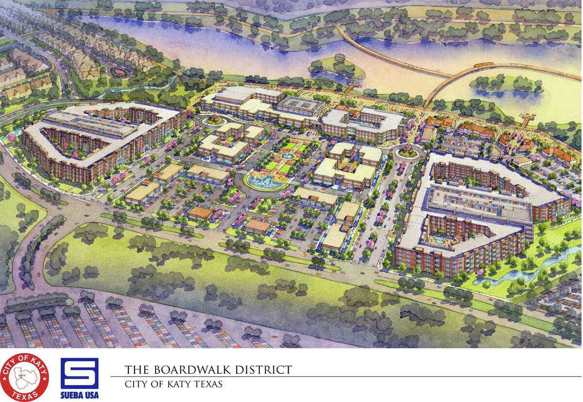 Katy's boardwalk project, which will be located next to Katy Mills Mall, will feature an estimated 2.5-mile path across an 80-foot pond, a hotel and 55,000-square-foot convention center and a retail plaza. City officials said the project will be completed in several stages within 3-4 years.