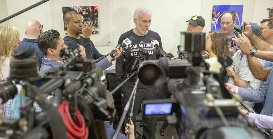 Spurs coach Gregg Popovich speaks Tuesday, May 23, 2017 to the media at the team's practice facility during the final press conference of the season. The Spurs were eliminated from the playoffs after they were swept by the Golden State Warriors in the Western Conference finals. Photo: William Luther /San Antonio Express-News / © 2017 San Antonio Express-News