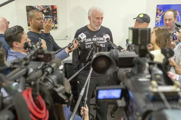 Spurs coach Gregg Popovich speaks Tuesday, May 23, 2017 to the media at the team's practice facility during the final press conference of the season. The Spurs were eliminated from the playoffs after they were swept by the Golden State Warriors in the Western Conference finals.