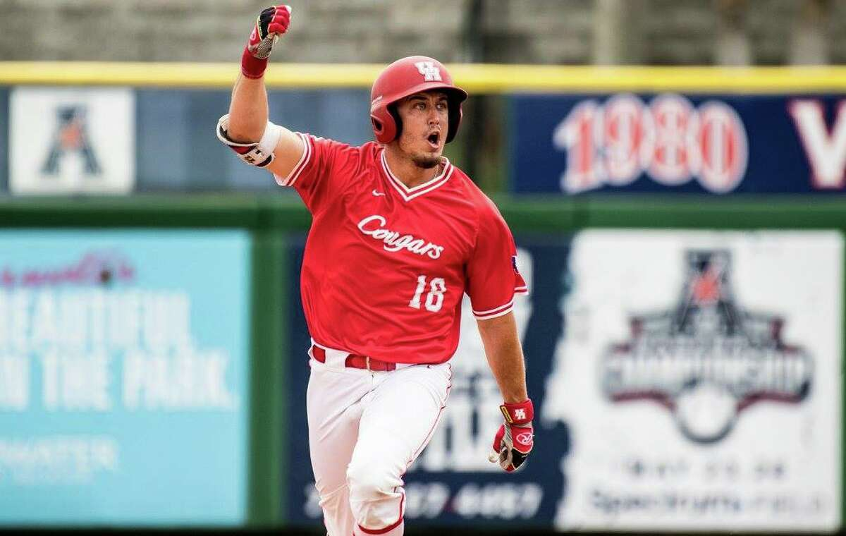 Grayson Padgett rounds the bases after his eighth-inning pinch-hit home run that put the University of Houston ahead of Memphis for good in the Cougars' opening round win in the American Athletic Conference.