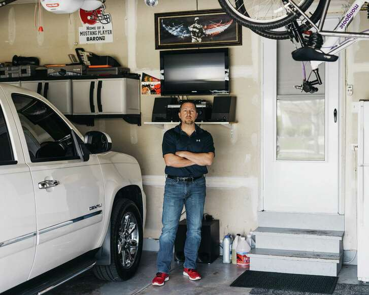 Phillip Barone, a midlevel salesman, in his home office in Lake in the Hills, Ill., April 24. Barone was let go from his job after his old company sent a cease-and-desist letter saying he had signed a noncompete agreement.