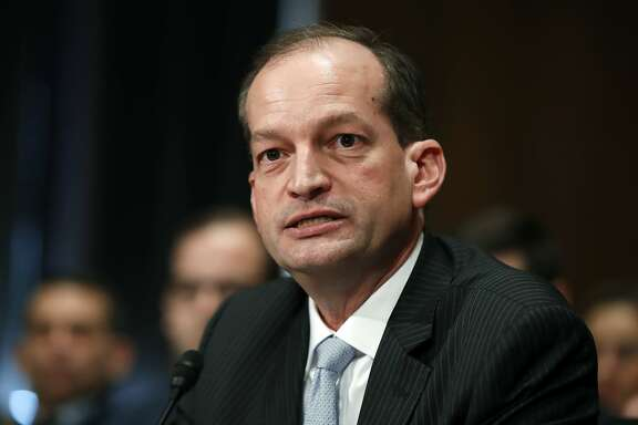 FILE - In this March 22, 2017, file photo, then-Labor secretary-designate Alexander Acosta testifies on Capitol Hill in Washington. The Trump administration is allowing to go forward an Obama-era rule that puts stricter requirements on professionals who advise retirement savers on their investments. But it's leaving open the possibility that deep changes to the rule will still be made. Acosta, President Donald Trump's new labor secretary, said Tuesday, May 23, 2017, the department has decided not to delay the rule while it seeks public input on how to change it. (AP Photo/Manuel Balce Ceneta, File)
