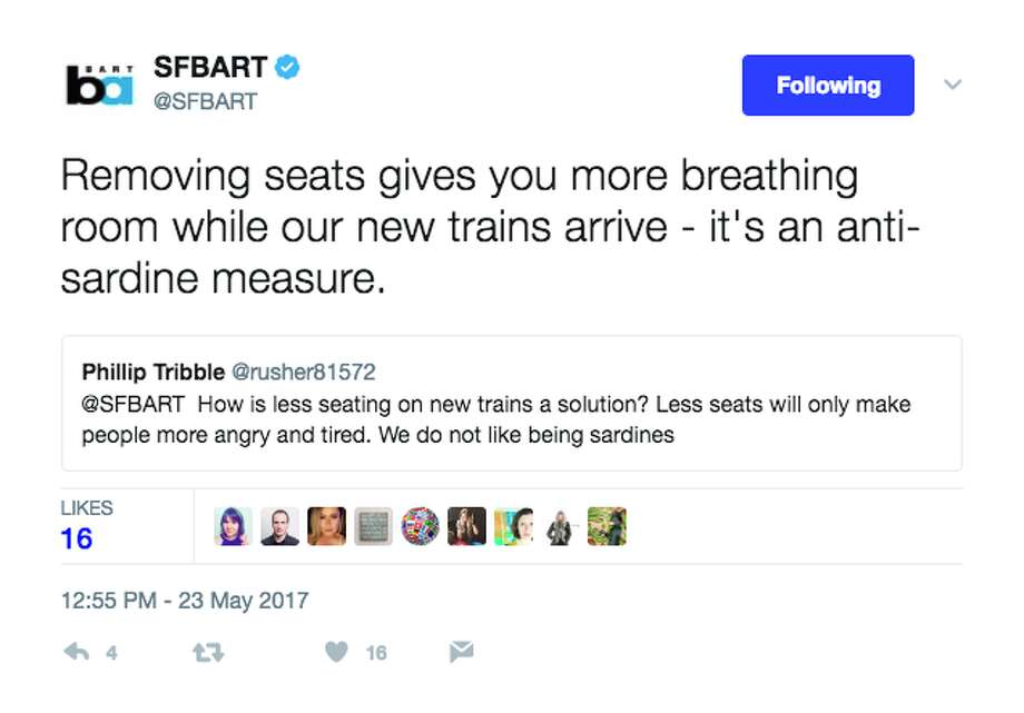 BART representatives responded to riders' questions and snarky comments on Twitter Tuesday for a virtual town hall. Photo: Screenshot Via Twitter