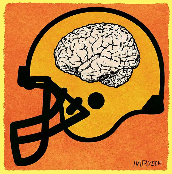 This artwork by M. Ryder relates to brain concussions suffered by football players.