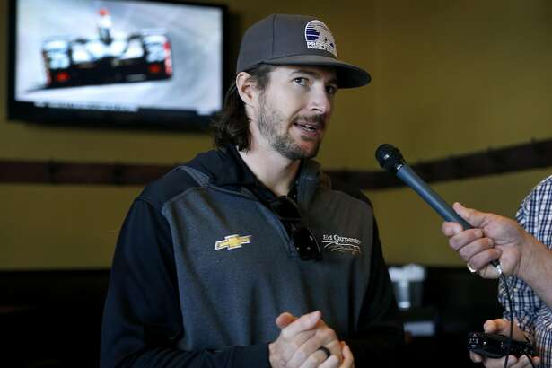 Indy Car driver JR Hildebrand meets with sports reporters at AT&T Park in San Francisco, Calif. on Tuesday, May 23, 2017. The Sausalito native will start in the 6th grid position for the Indianapolis 500 on Sunday.