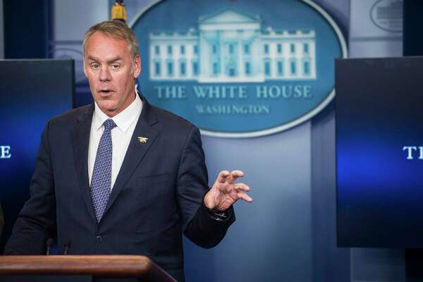 Interior Secretary Ryan Zinke, seen here in April, said that interior's funding of $11.6 billion for fiscal 2018, which is about $1.6 billion less annually, will eliminate programs that he says are unnecessary, duplicative or a low priority.