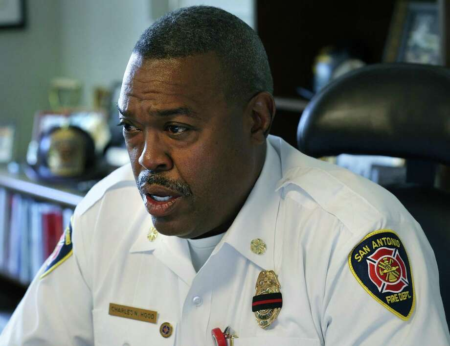 San Antonio Fire Chief Charles Hood on Tuesday discusses the death of firefighter Scott Deem, who died May 18. Photo: Bob Owen /San Antonio Express-News / ©2017 San Antonio Express-News