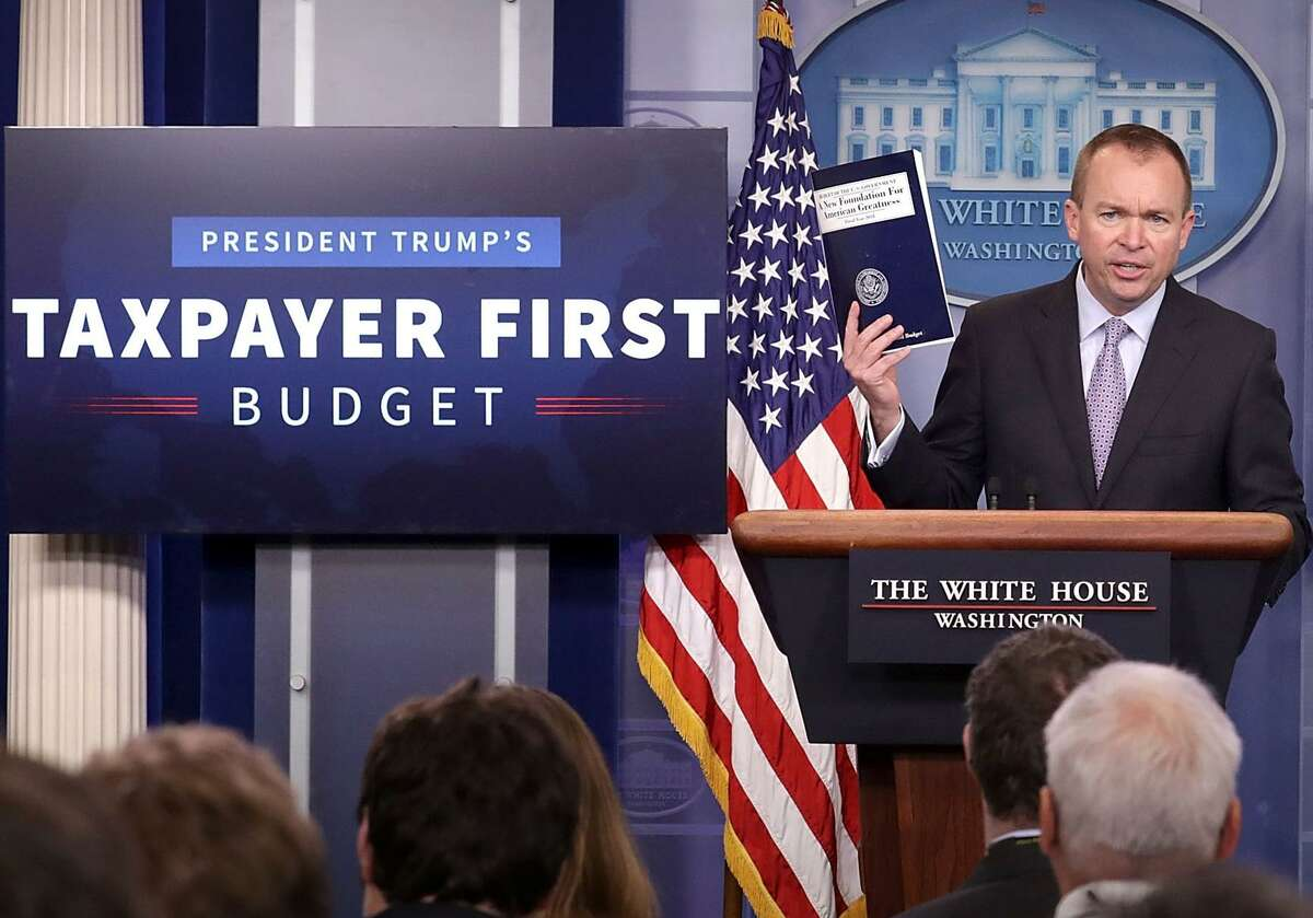 """Office of Management and Budget Director Mick Mulvaney holds a news conference to discuss the Trump Administration's proposed FY2017 federal budget in the Brady Press Briefing Room at the White House May 23, 2017 in Washington, DC. Calling it a """"New Foundation for American Greatness,"""" the $4.1 trillion budget for would cut programs for the poor, including health care, food stamps, student loans and disability payments while offering big tax cuts for the wealthy."""