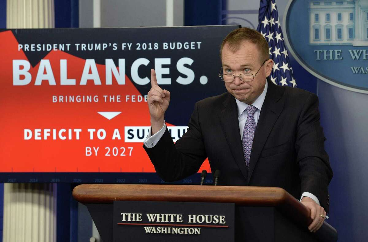 Office of Management and Budget Director Mick Mulvaney speaks during a press briefing about President Donald Trump's 2018 budget proposal that includes boosts for military and spending cuts on safety-net programs for poor at the White House on May 23, 2017 in Washington, D.C.