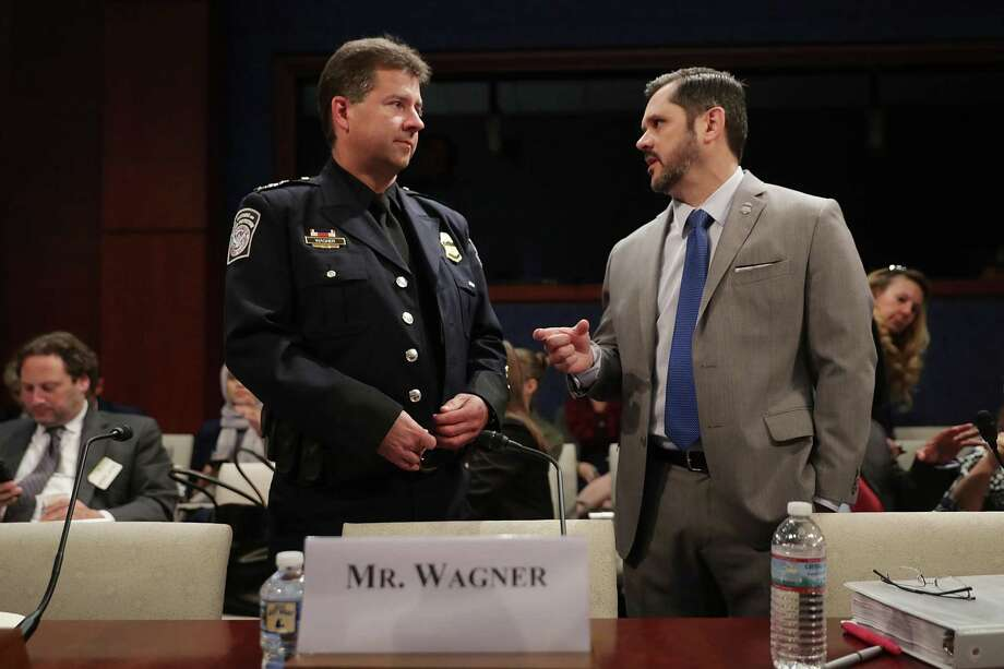 Customs and Border Protection Deputy Executive Assistant Commissioner John Wagner (left) and homeland security's   Clark Settles prepare to testify before the panel. Photo: Chip Somodevilla / Getty Images / 2017 Getty Images