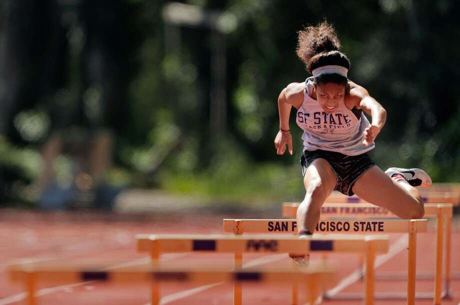 Freshman Jayden Dalton finished third in the 100-meter hurdles at the conference championships. Photo: Carlos Avila Gonzalez / Carlos Avila Gonzalez / The Chronicle / ONLINE_YES