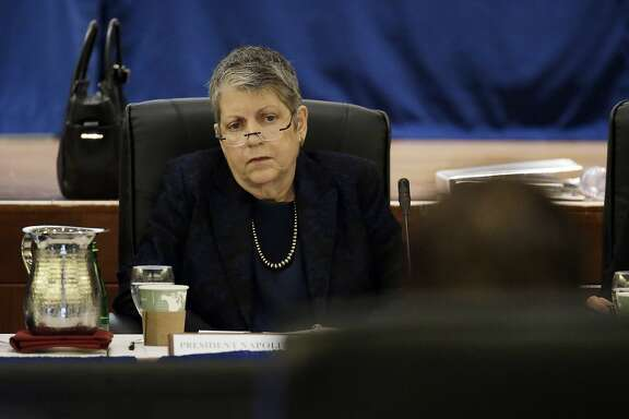 University of California President Janet Napolitano listens as State Auditor Elaine Howle gives a presentation during a meeting of the University of California Board of Regents, Thursday, May 18, 2017, in San Francisco. California's state auditor were briefing the governing board of the University of California Thursday on findings that UC administrators hid $175 million in a secret reserve fund even as the system raised tuition and sought more public funding. (AP Photo/Eric Risberg)