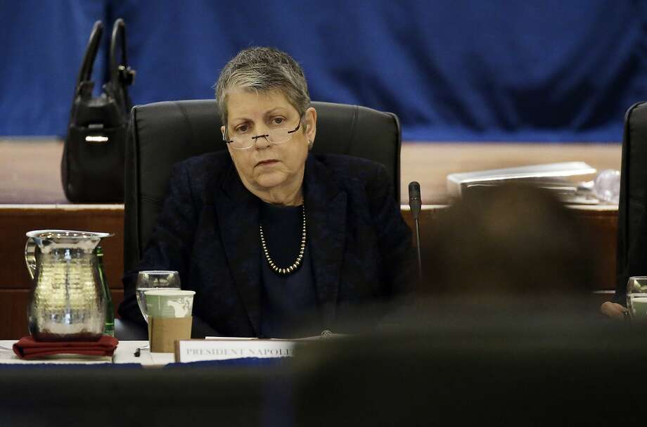 University of California President Janet Napolitano listens as State Auditor Elaine Howle gives a presentation during a meeting of the University of California Board of Regents, Thursday, May 18, 2017, in San Francisco. California's state auditor were briefing the governing board of the University of California Thursday on findings that UC administrators hid $175 million in a secret reserve fund even as the system raised tuition and sought more public funding. (AP Photo/Eric Risberg) Photo: Eric Risberg, Associated Press