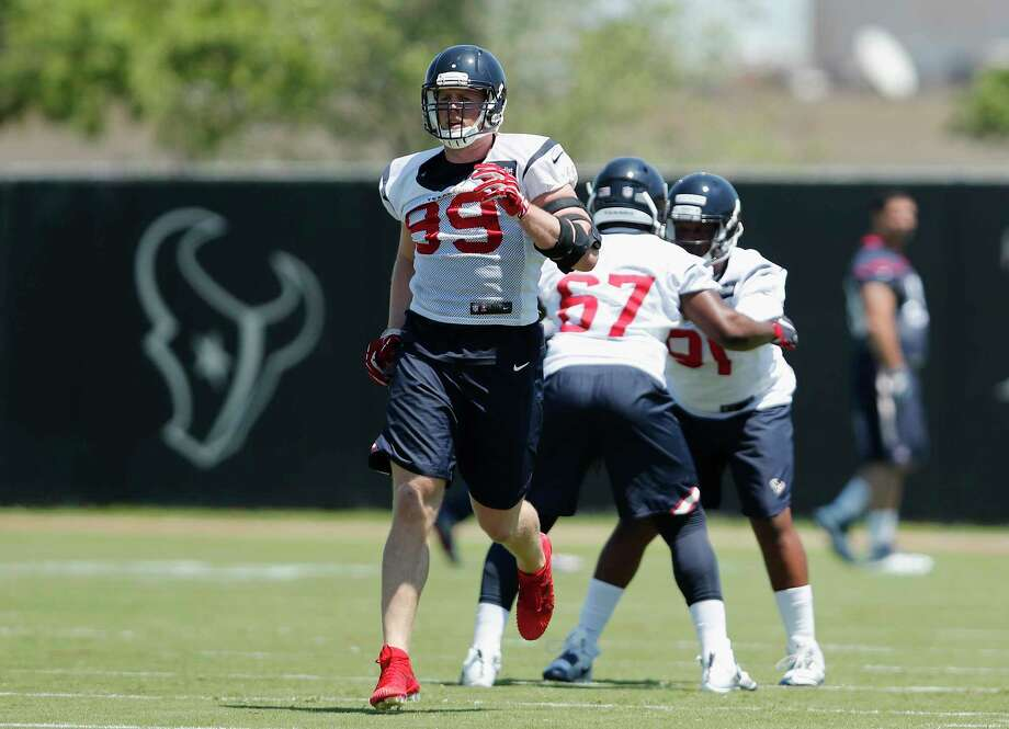 """Texans defensive end J.J. Watt (99) is running on a full tank. """"I have no restrictions from anybody. I'm practicing full-go. This is my natural habitat (and) I feel great."""" Photo: Tim Warner, Freelance / Houston Chronicle"""