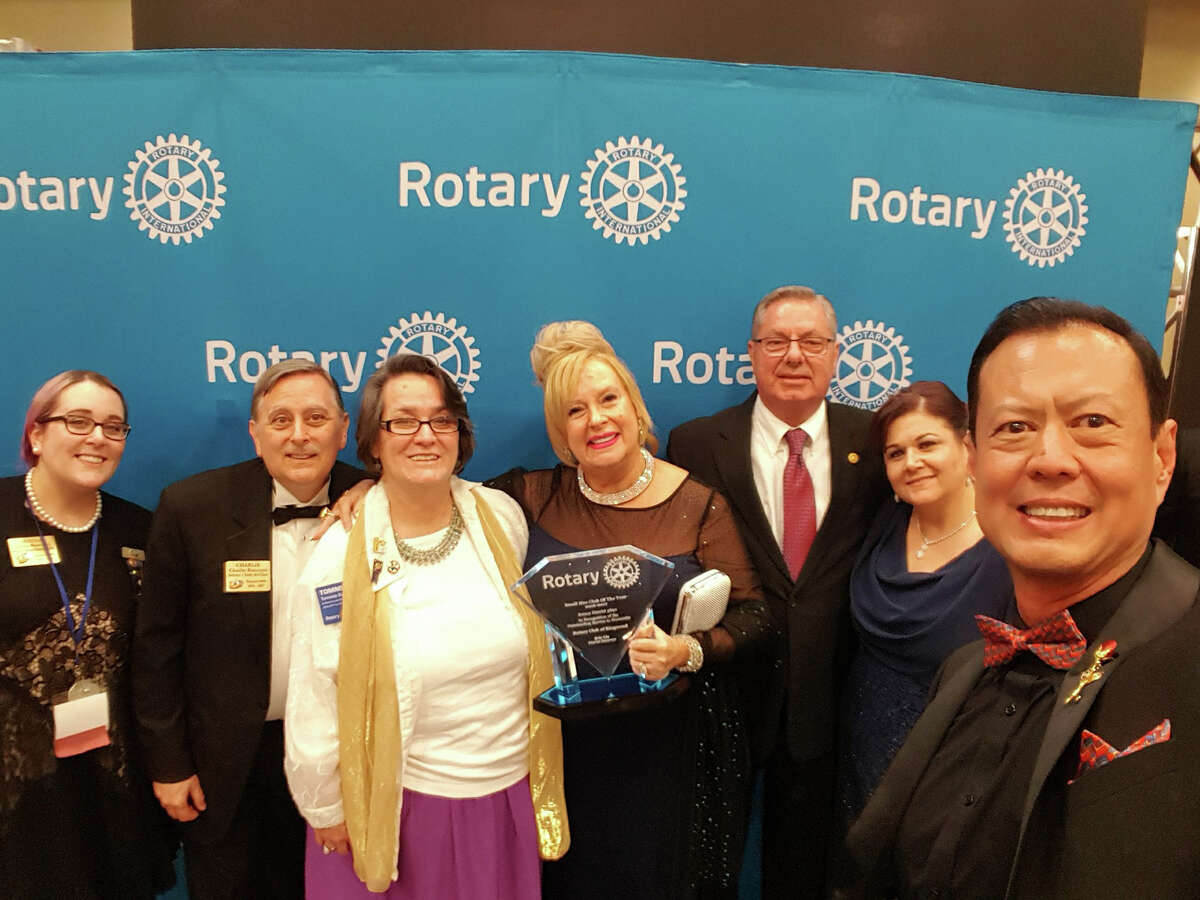 The Kingwood Rotary Club celebrates winning theaward for Rotary District 5890 Small Size Rotary Club of the Yearduring the Governor�'s Gala at the 2017 Greater Houston Area District 5890 Conference at La Torretta Lake Resort in April. From left to right:Jenna Buscemi, Rotaract District Governor; Charlie Buscemi, Kingwood Rotary Club; Tommie Buscemi, Kingwood Rotary Club; Deirdre Murray, President of Kingwood Rotary; Jim Alfaro, Kingwood Rotary Club; Sandra Liu, First Lady of Rotary District 5890; Eric Liu, Rotary 5890 District Governor.