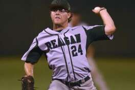 Reagan pitcher Jake Hoggatt delivers against Johnson during Game 1 of their Class 6A third-round series Thursday at Blossom Athletic Center. (Staff photo)