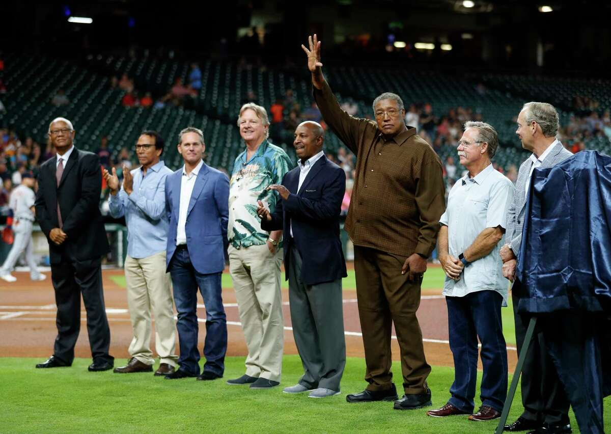 Former Houston Astros players including J.R. Richard came out to watch Bob Watson awarded the B.A.T. Lifetime Achievement award by MLB Commissioner Rob Manfred before the start of an MLB baseball game at Minute Maid Park, Tuesday, May 23, 2017.