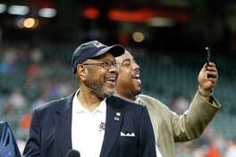Bob Watson smiles as he watched a video tribute before being awarded the B.A.T. Lifetime Achievement award by MLB Commissioner Rob Manfred before the start of an MLB baseball game at Minute Maid Park, Tuesday, May 23, 2017.