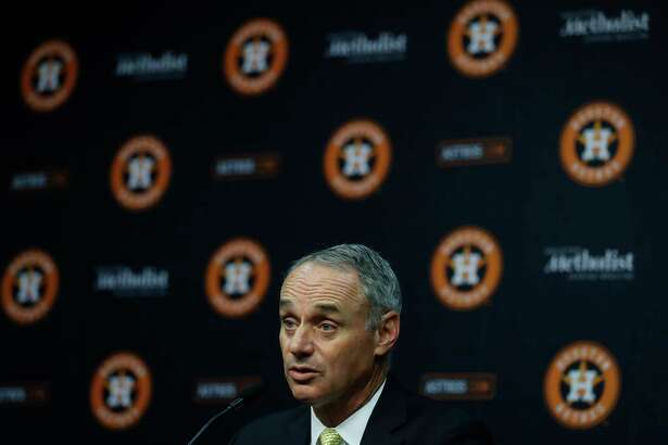 MLB Commissioner Rob Manfred speaks to the media before the start of an MLB baseball game at Minute Maid Park, Tuesday, May 23, 2017.