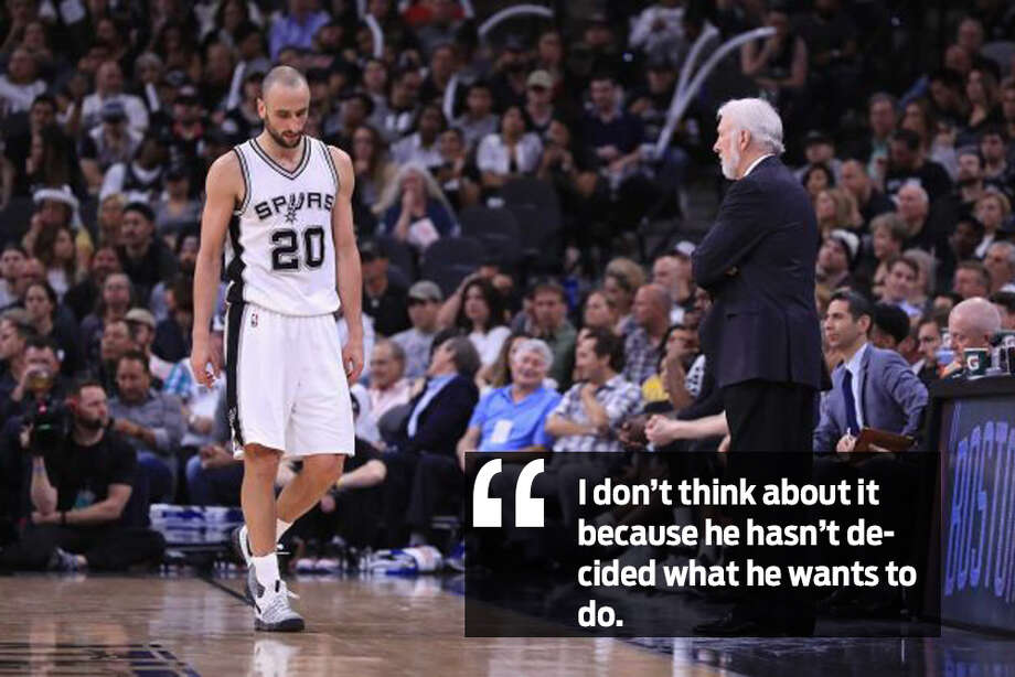 """""I don't think about it because he hasn't decided what he wants to do,"" said Gregg Popovich Spurs coach on Manu Ginobili's possible retirement. Photo: File Photos"