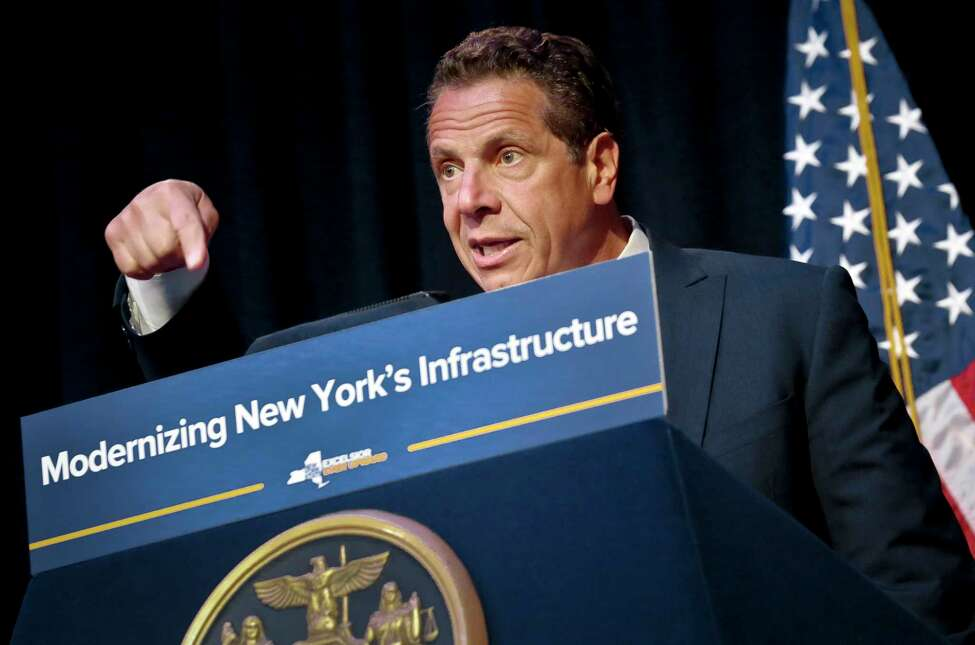 New York's Gov. Andrew Cuomo speaks during his announcement of plans to improve the Metropolitan Transportation Authority transit system to resolve chronic commuter train delays, Tuesday May 23, 2017, in New York. Cuomo on Sunday asked President Donald Trump for greater federal help, saying Penn Station is at