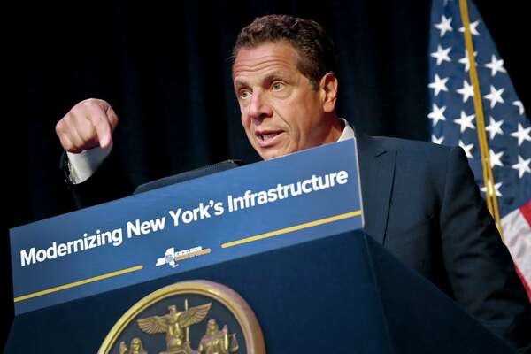 """New York's Gov. Andrew Cuomo speaks during his announcement of plans to improve the Metropolitan Transportation Authority transit system to resolve chronic commuter train delays, Tuesday May 23, 2017, in New York.  Cuomo on Sunday asked President Donald Trump for greater federal help, saying Penn Station is at """"a tipping point."""" (AP Photo/Bebeto Matthews) ORG XMIT: NYBM401"""