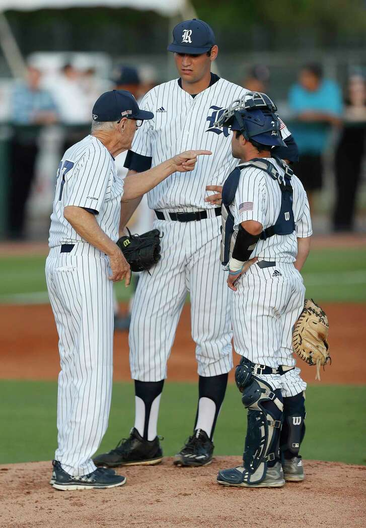 """Rice coach Wayne Graham, left, says if the Owls catch pitchers like Evan Kravetz, center, on up days, then his team is """"in business."""""""