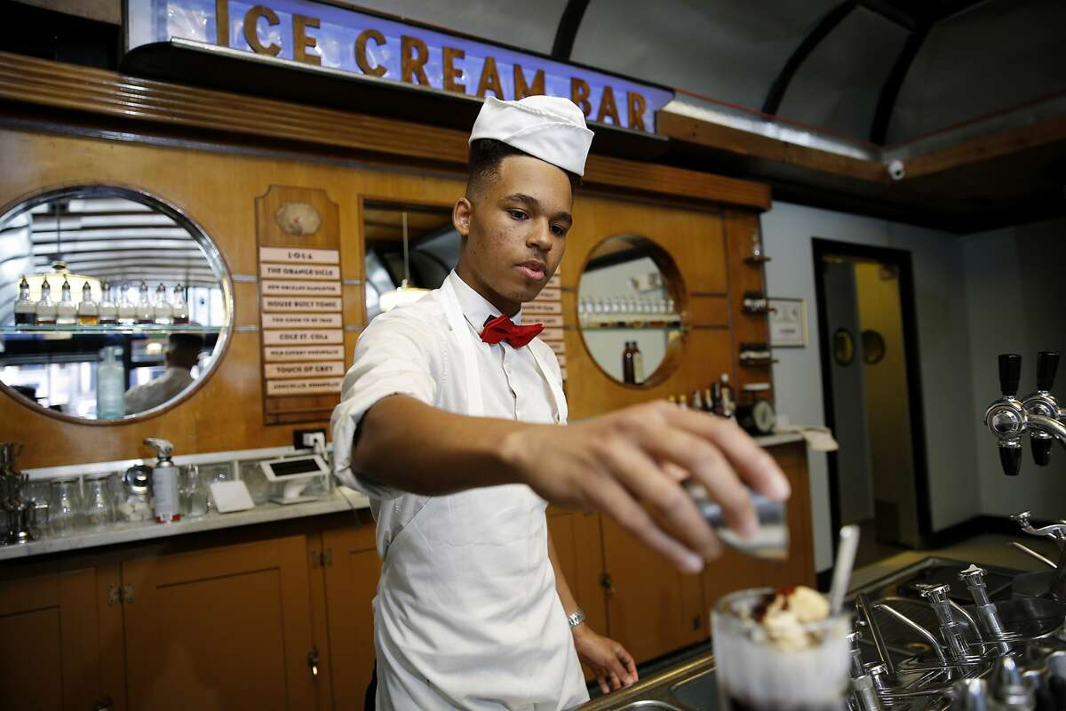 Soda jerk Jamal Hargrove at Ice Cream Bar on Saturday, May 20, 2017, in San Francisco, Calif. The store is located at 815 Cole Street.
