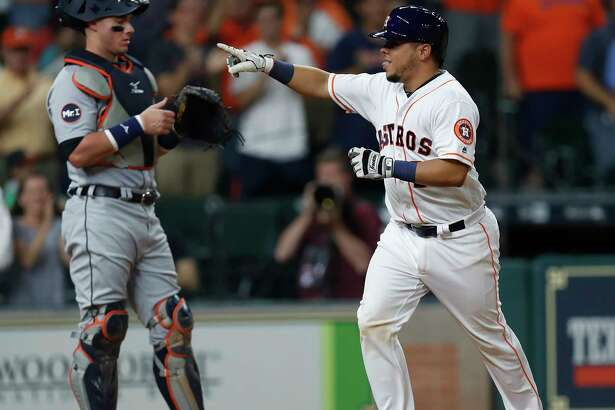 Houston Astros catcher Juan Centeno (30) celebrates his home run during the fourth inning of an MLB baseball game at Minute Maid Park, Tuesday, May 23, 2017.