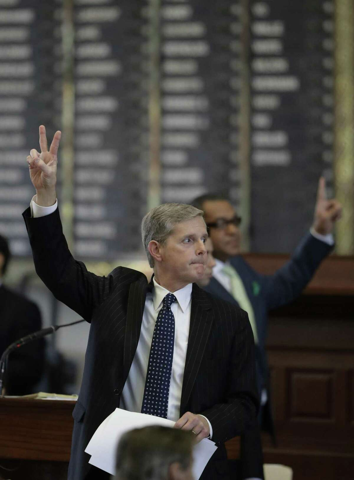 Texas Rep. Phil King, R-Weatherford, votes against an amendment to SB5, a weakened version of the state's voter ID law that a federal judge called discriminatory, Tuesday, May 23, 2017, in Austin. (AP Photo/Eric Gay)