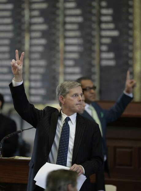 Texas Rep. Phil King, R-Weatherford, votes against an amendment to SB5, a weakened version of the state's voter ID law that a federal judge called discriminatory, Tuesday, May 23, 2017, in Austin. (AP Photo/Eric Gay) Photo: Eric Gay, STF / Associated Press / Copyright 2017 The Associated Press. All rights reserved.
