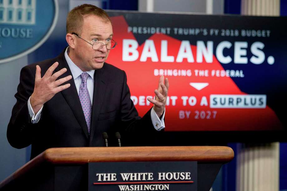 Budget Director Mick Mulvaney speaks to the media about Trump's proposed budget on Tuesday. Photo: Andrew Harnik, STF / Copyright 2017 The Associated Press. All rights reserved.