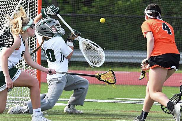Shen goalie Allie Cerrone stops a shot by Bethlehem's #4 Katie Zito, right, during their semifinal game Tuesday May 23, 2017 in Clifton Park, NY.   (John Carl D'Annibale / Times Union)