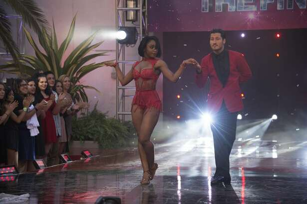 Normani Kordei and Val Chmerkovskiy on the Dancing with the Stars finale.