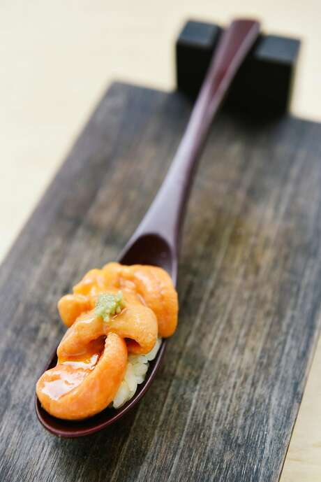 At Ju-Ni in S.F.: Sea urchin is served in a spoon with fresh wasabi. Photo: Michael Short, Special To The Chronicle