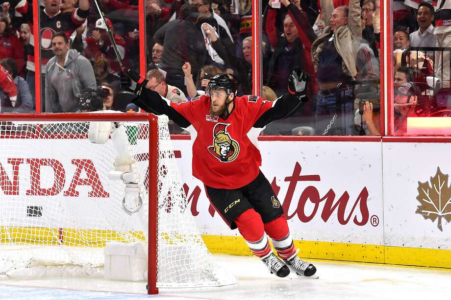 Fredrik Claesson of Ottawa celebrates after teammate Mike Hoffman scored 1 minute, 34 seconds into the third period to put the Senators ahead. The lead held up, forcing a Game 7. Photo: Minas Panagiotakis, Getty Images