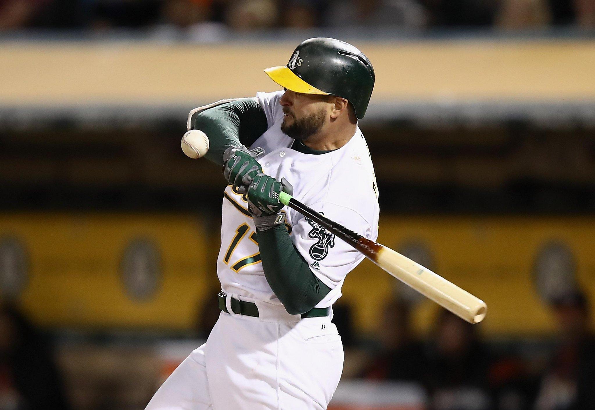 A's Yonder Alonso leaves after being hit on wrist - San ...