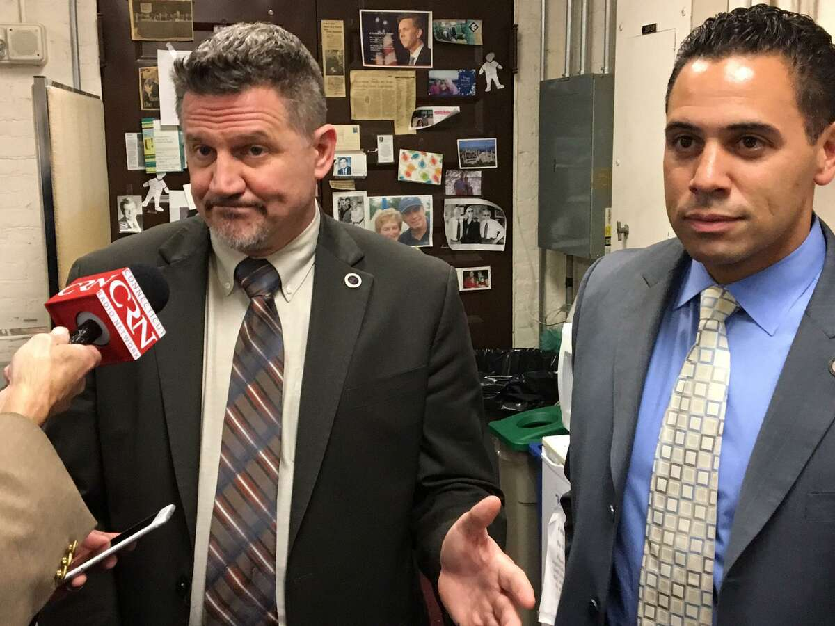 Kevin Brown, left, Mohegan tribal chairman and Rodney Butler, Mashantucket Pequot chairman talk about their latest proposal to try to win legislative approval of a third Connecticut casino, their joint venture, in East Windsor.