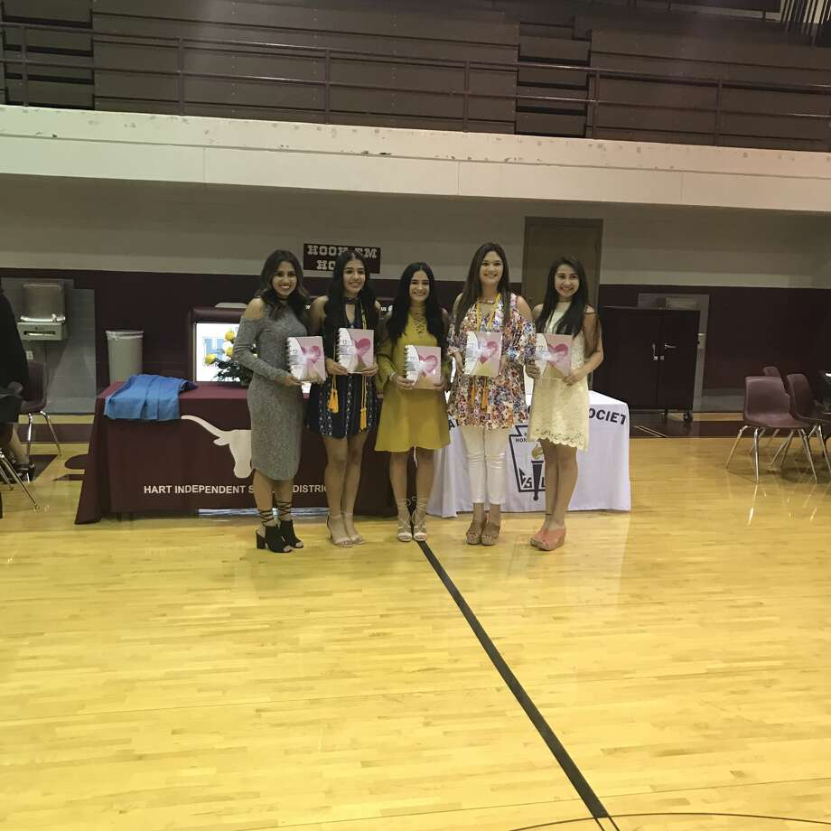 Five Hart High School students recognized at Monday's award banquet for earning college hours through the dual-credit program are Abigail Rosas (left), I'lynne Marquez, Candyce Neudorf, Leandra Perez and Alexcia Calderon.